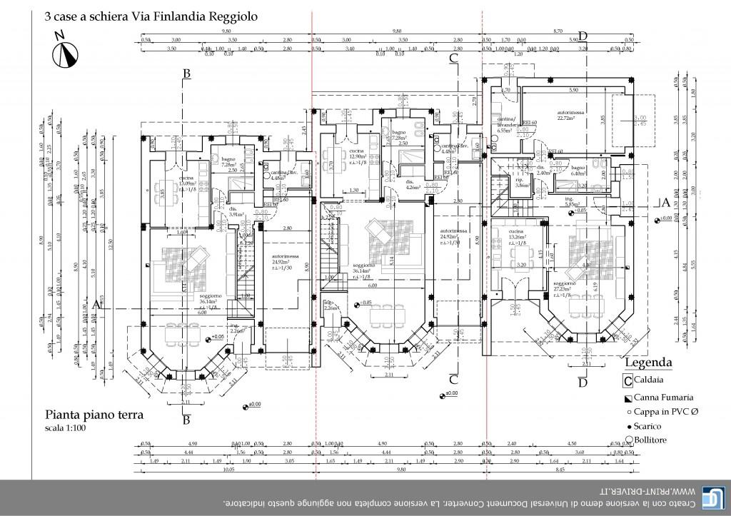 Pianta piano terra 3 schiere via finlandia edilcrea for Pianta villetta a schiera